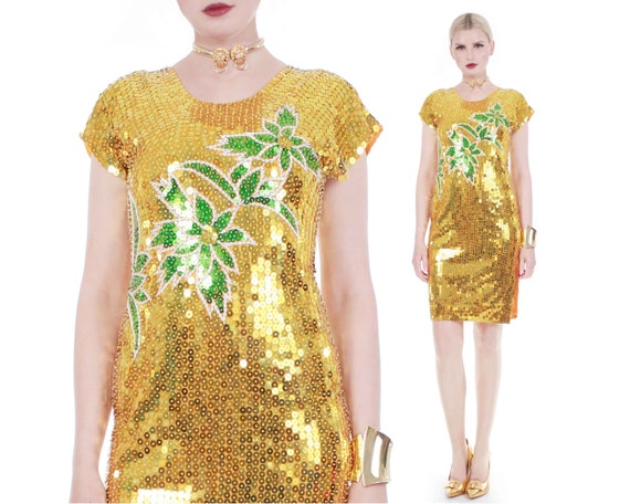 80s Vtg PALM Gold Metallic and Green Sequin Beaded