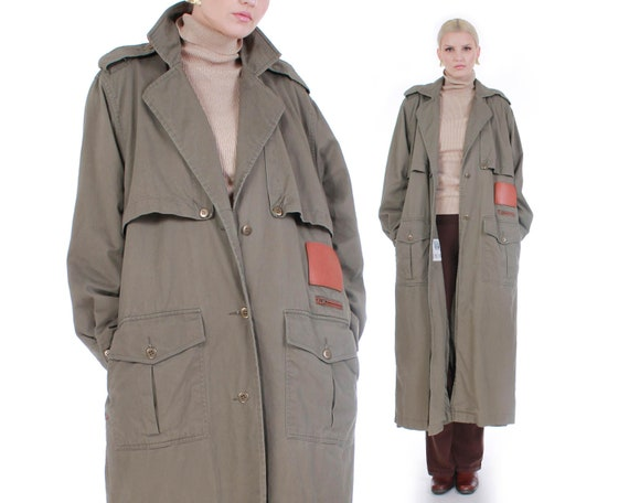 Vintage Olive Green Duster Trench Coat Size XL
