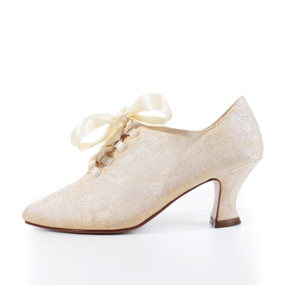80s Victorian Satin Brocade Lace Up Ivory Ankle Bo