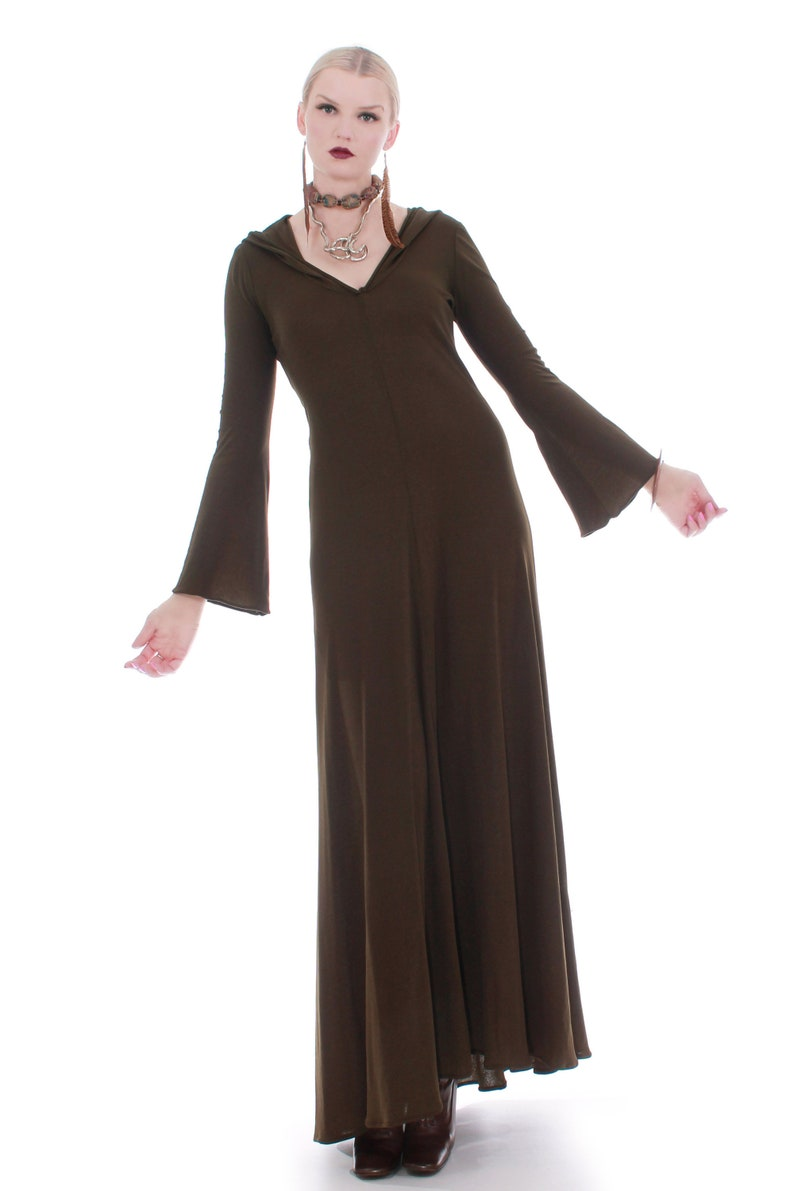 70s Vintage Georges Factory Slinky Hooded Brown Bell Sleeve Maxi Dress