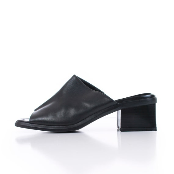 90s Block Heel Black Leather Mules Women's Size U… - image 2