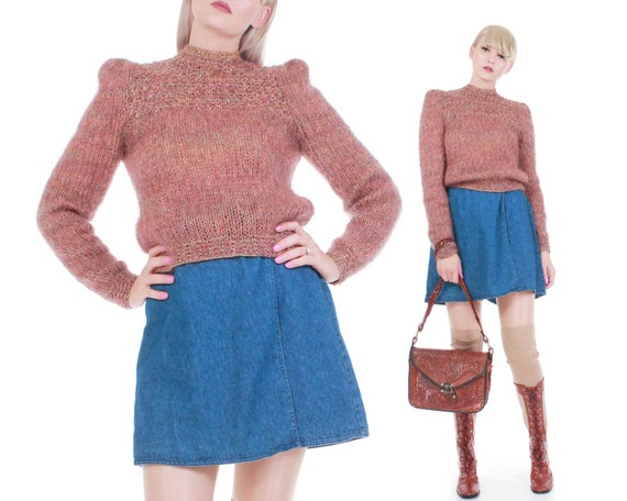 Vintage Metallic Knit Mohair Sweater Top