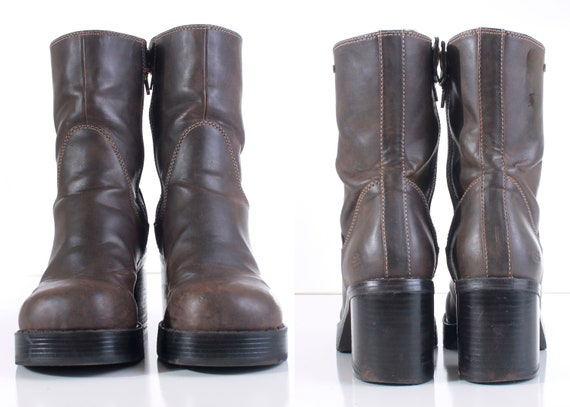 Chunky EUR39 5 Women's Boots 8 5 Vegan Brown Skechers Size Leather UK6 Vintage 90's Shoes Platform Heel Block PpTnqX