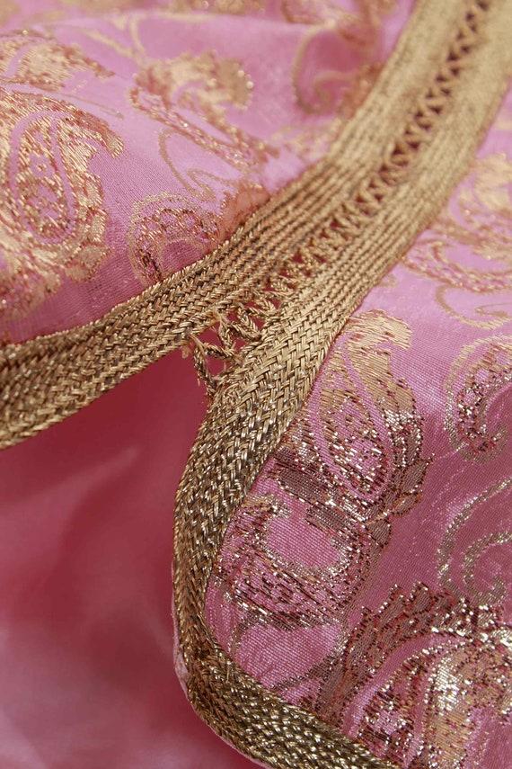70s Vintage Gold Lame Pink Metallic Brocade Tunic - image 8