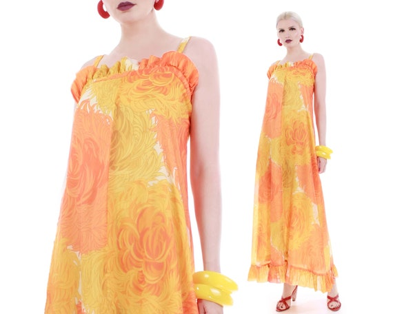 60s MALIA Honolulu Chrysanthemum Yellow Orange Cre