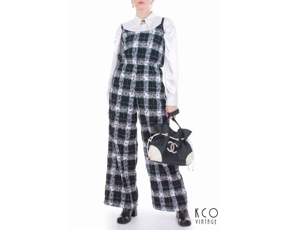 80c55de18a5 Vintage Seersucker Plaid Black and White Jumpsuit Women s