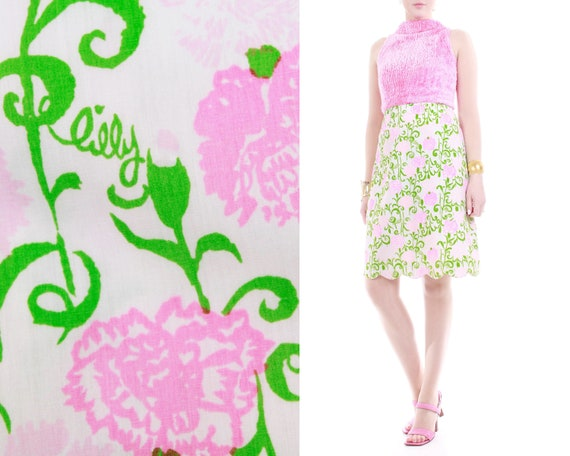 1960s Lilly Pulitzer The Lilly Pink Floral Cotton