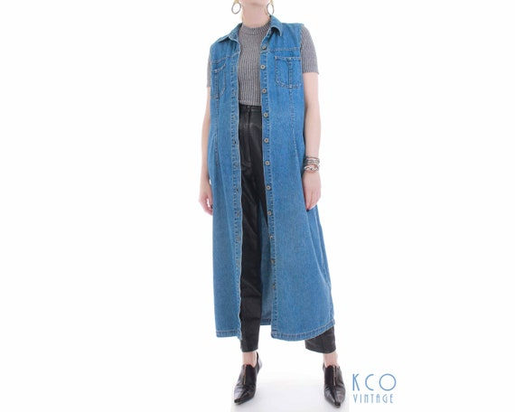 90s Bill Blass Denim Duster Vest Collared Maxi Dre