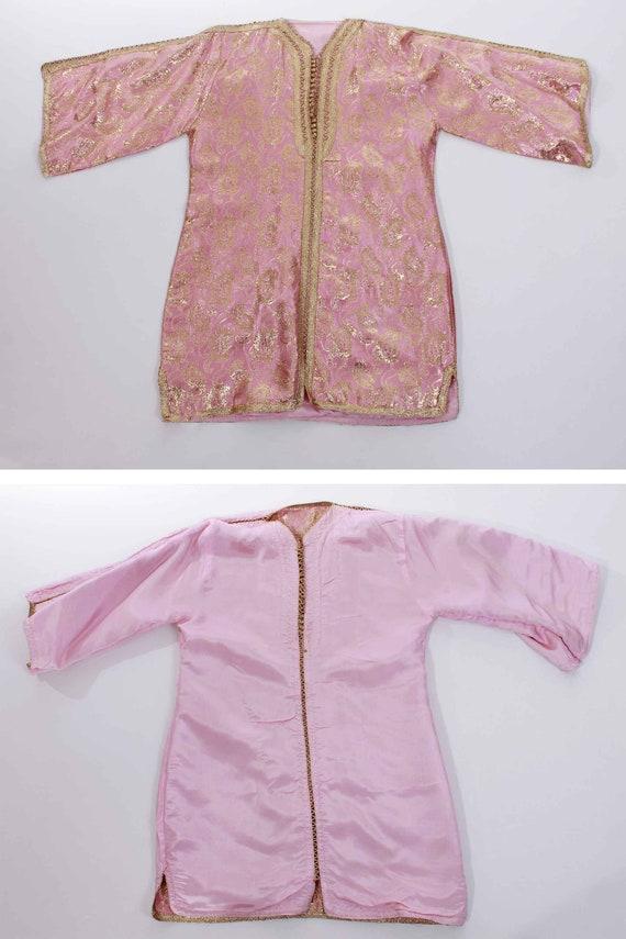 70s Vintage Gold Lame Pink Metallic Brocade Tunic - image 6