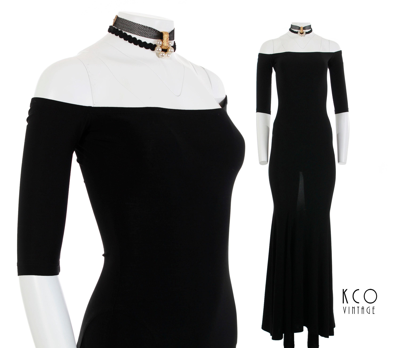 3f5e4f2447 Off Shoulder Dress Black Slinky Bodycon Maxi Party Dress