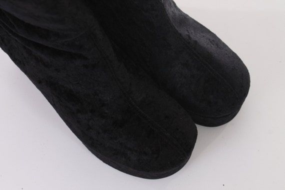 Kid 6 Boots 5 Women Boots Club 6 US Boots 90s Vintage 37 UK Velvet Chunky 5 Platform 4 EUR Boots Boots Goth Size's Ankle 5 Black Crushed O1v7cRW