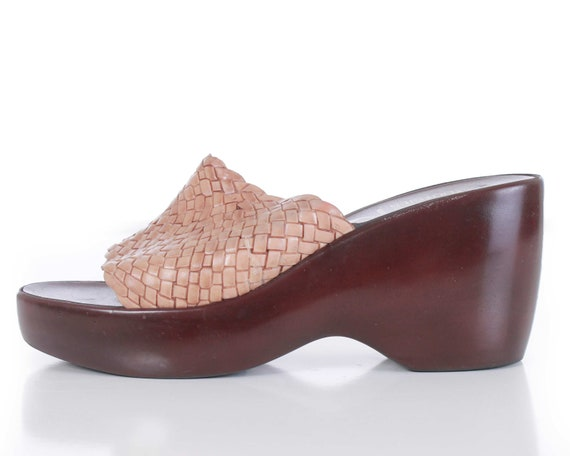 90s Mootsie Tootsies Italy Woven Rubber Wedge Plat