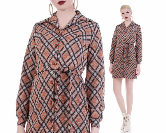 70s Plaid Double Knit Poly Belted Shirt Dress Wome