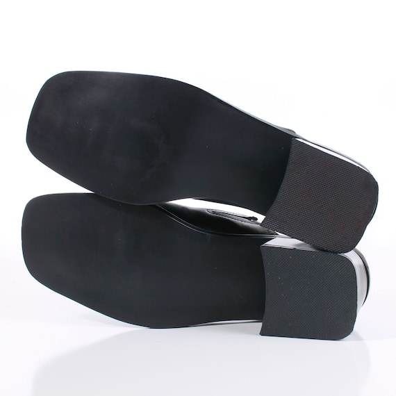 90s Block Heel Black Leather Mules Women's Size U… - image 8