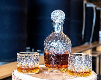 FACET Decanter with Stopper and two Lowball Glasses