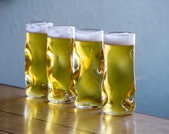 Subtle Beer Glass, Set of 4, Handmade Glassware