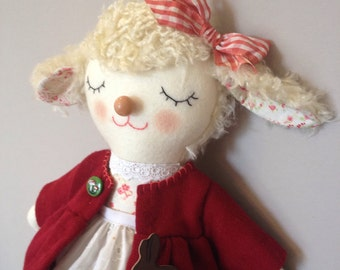 Edie the Lamb - Handmade One of A Kind Artist Doll