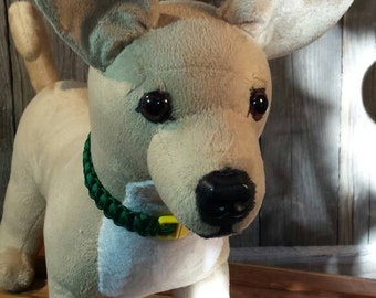 Custom dog plush created for a customer  from their pictures.  Camel smooth minky coat with green collar. Use for dog memorial or mannequin.