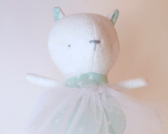Baby first soft toy  Soft and silky kitten Cute ballerina with tutu Eco-friendly stuffed toy Minimalist Baby toy girl Shower gift Handmade