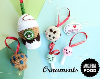 Christmas Ornaments Crochet Pattern Frappuccino Coffee, Muffin, Cake Pops and cookie! Ready to ship