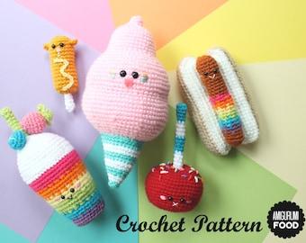 Crochet PATTERN Amigurumi Food Carnival Party Play food! Cotton Candy, Rainbow Milkshake and Candy Apple, Corn Dog and Rainbow Hot Dog