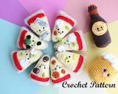 Crochet PATTERN Amigurumi Food! Pizza Party + Beer Crochet Pattern Kawaii!
