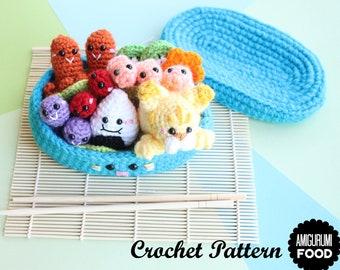 Crochet PATTERN Bento Cuteness Crochet pattern Amigurumi food (English and Spanish)