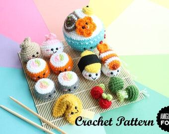 Crochet PATTERN Amigurumi Food The Sushi Family Crochet Pattern/ Sushi Set