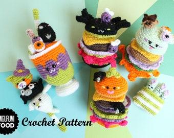 Crochet PATTERN Yummy Halloween Crochet Pattern Zombie Burger, Pumpkin Burger, Spider Burger, Halloween Dango and more!
