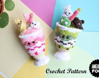 Crochet PATTERN Matcha Parfait Amigurumi Food Crochet Pattern Japan dessert