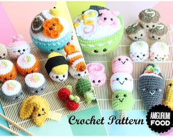 Crochet PATTERN Amigurumi Food PACK Sushi Family 1 & 2 Crochet Pattern/ Sushi Set/ Plus Fortune cookie bonus pattern!