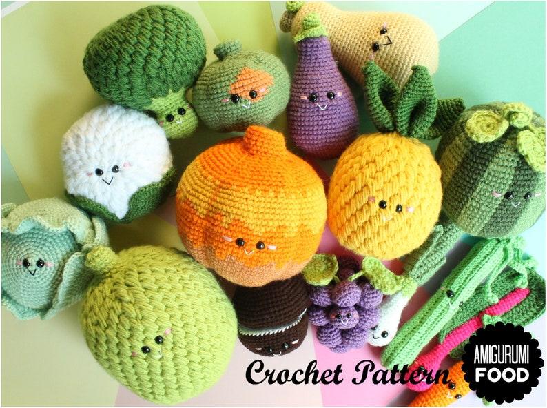 Pumpkin Acorn Squash Crochet PATTERN Amigurumi Food Big Fruits and Vegetables pattern PDF crochet pattern and Halloween Bonus Pineapple