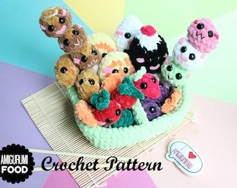 Crochet Pattern Square Bento Box Chenille Yarn/ Fluffy Bulky Yarn Amigurumi Food Crochet Food