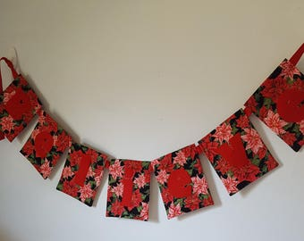 Banner Believe Christmas Xmas Poinsettia Fabric