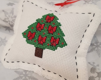 Christmas tree ornament, cross stitch Christmas decoration, holiday decor, hanging ornament, country style