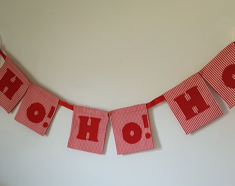 Banner Christmas Ho! Ho! Ho! Red White Stripe