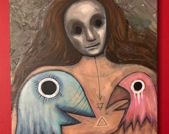 Conversation - Oil on Canvas, Intuitive Painting, Intuitive Art, Live Painting, Outsider Art, Masks