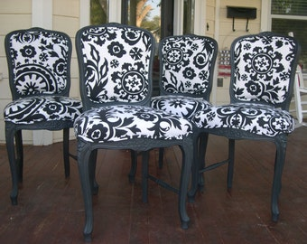 Customizable French Kitchen/Dining Chairs ready for your choice of paint and fabric