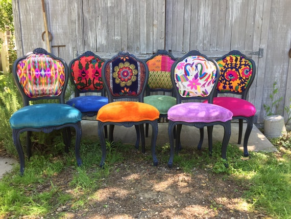 Eclectic Boho Dining Chairs Etsy