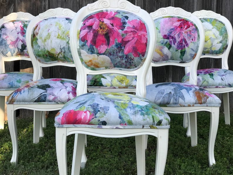 Delicieux Eclectic Floral Dining Chairs