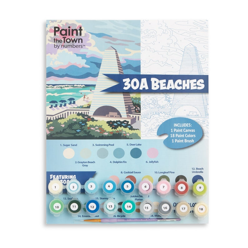 Beach /Paint by Number Kit / 30A Beaches /  DIY / Florida image 0