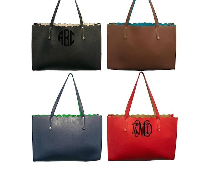 Featured listing image: Monogrammed Scalloped Tote Purse Reversible Handbag Women's Shoulder Bag Laptop Bag Scallop Trim Bag Personalized Handbag Ladies Gift