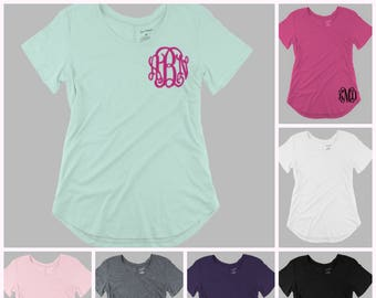 Monogrammed Basic Scoop Neck Tee