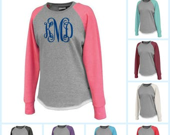 Women's Monogrammed Sweatshirt Terry Fleece Lined Two Tone Preppy Sweatshirt