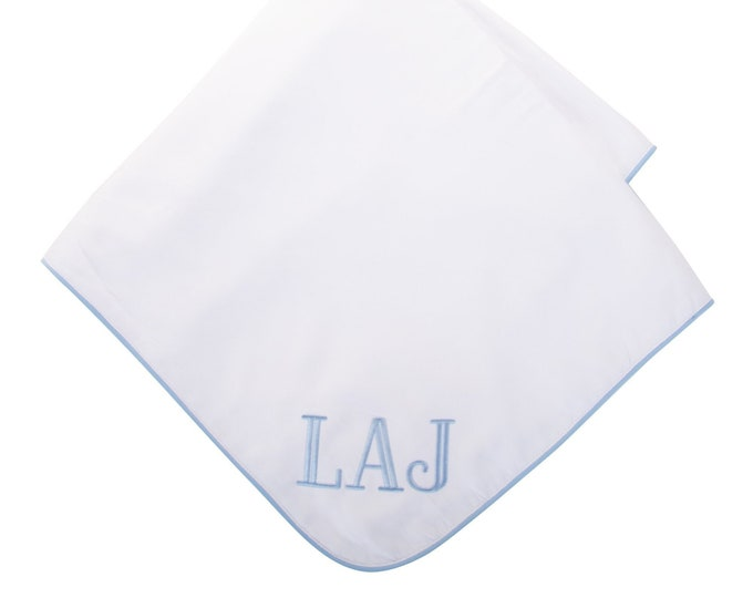 Featured listing image: Monogrammed Baby Blanket Blue Piping Coming Home Blanket for Baby Boy