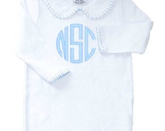 Monogrammed Baby Gown Blue Stitching Baby Boy Newborn Gift White and Baby Blue Boy Gown Personalized Baby Gifts