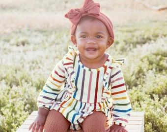 Monogrammed Bubble Romper in Harvest Rainbow Stripes for Baby Girls and Toddlers