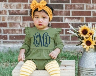 Monogrammed Bubble Romper Ruffle Butt Baby and Toddler Girls Fall Outfit