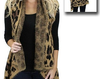 Women's Leopard Vest Open Style Cardigan Monogrammed