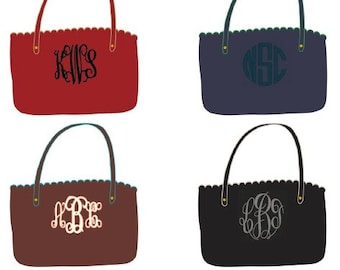 Monogrammed Scalloped Tote Purse SALE